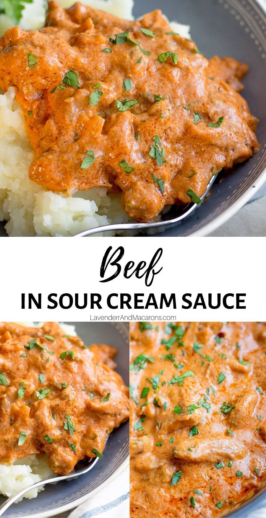 Beef In Sour Cream Sauce In 2020 Beef Chunks Recipes Beef Stroganoff Easy Recipes