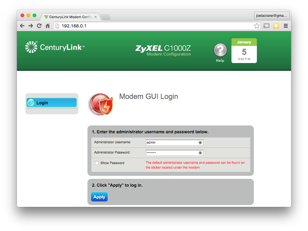 how to set up centurylink modem without a computer