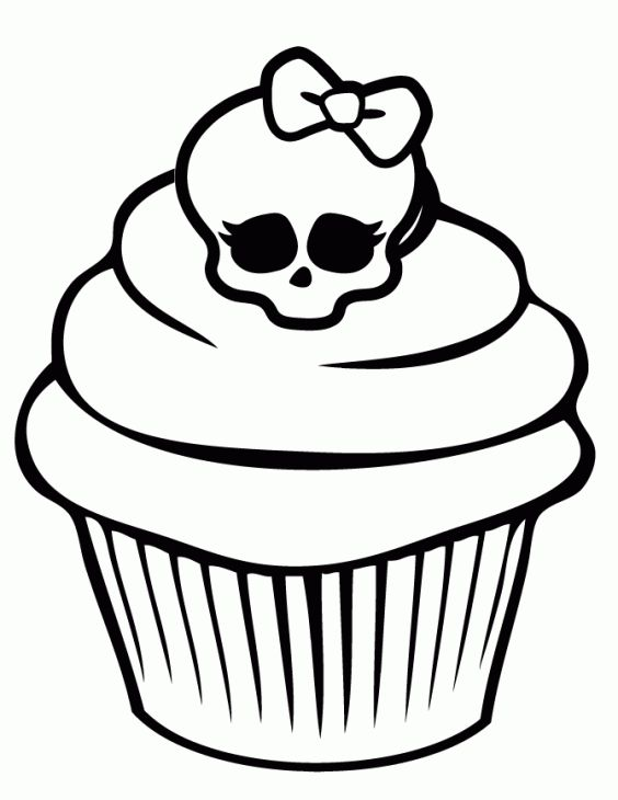Monster High Cupcake With Chic Skull On Top Coloring Page | Coloring ...