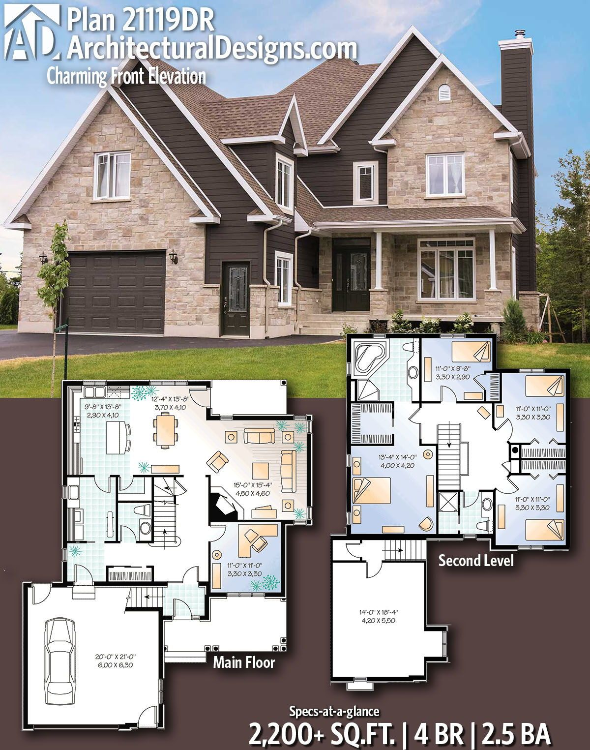 Plan 21119dr Charming Front Elevation Sims House Plans Traditional House Plans Courtyard Entry