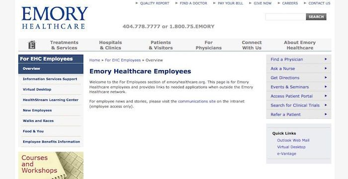 Emory Healthcare Email Login To Emoryhealthcare Org Employees Health Care Emory Email Service