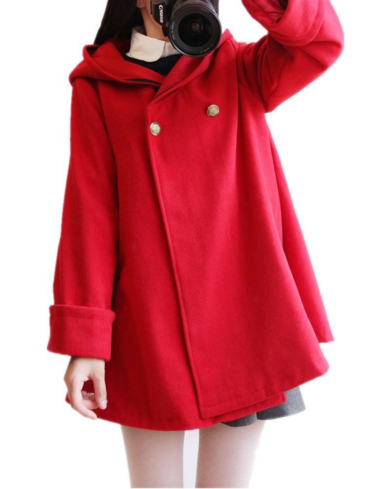 MissFox Bolsillos con Capucha Trench Coat Chaqueta para Mujer