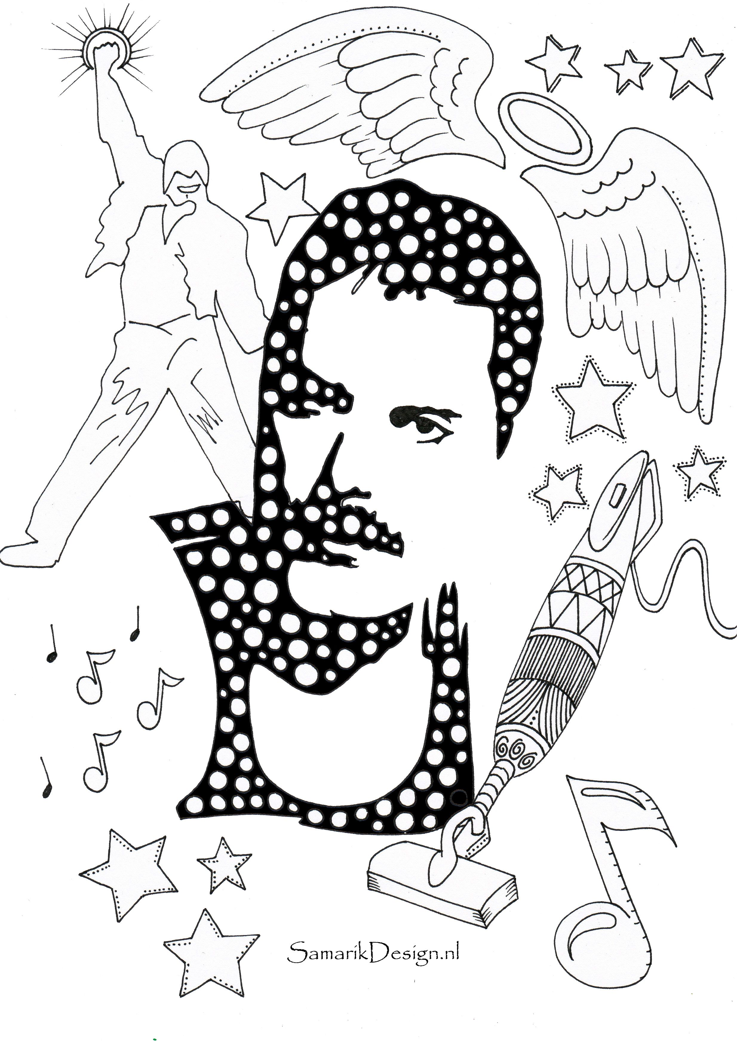 Freddie Mercury Famous People Coloring Pages Unicorn Coloring