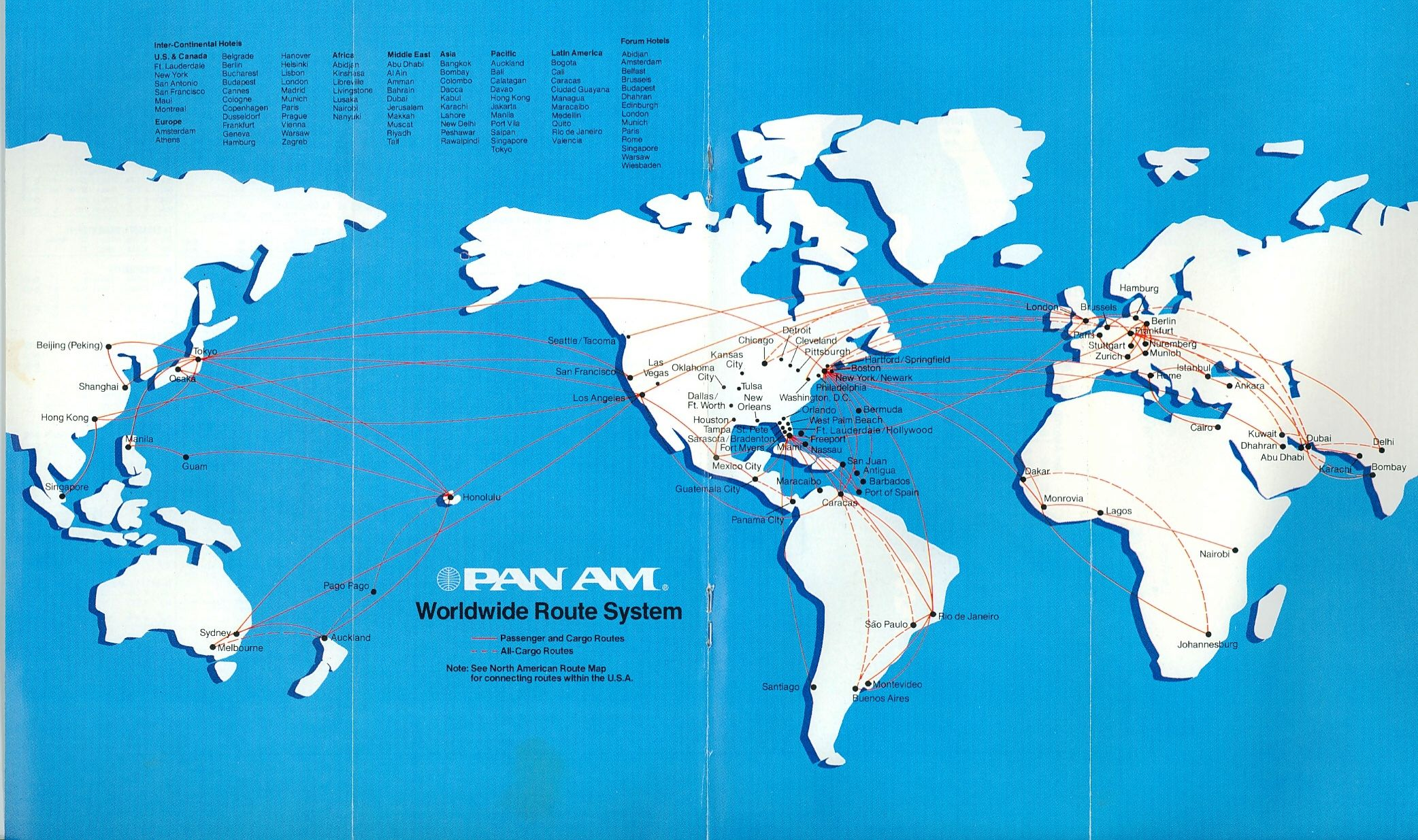 Route map 1982. Pan American World Airways
