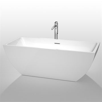 Ove Rachel 70 Inch Freestanding Acrylic Bathtub Glossy White