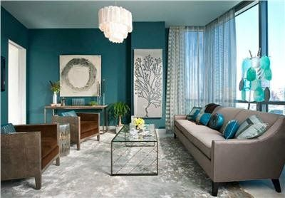 Teal The Teal Walls In This Room Work So Well With The Grey Couch