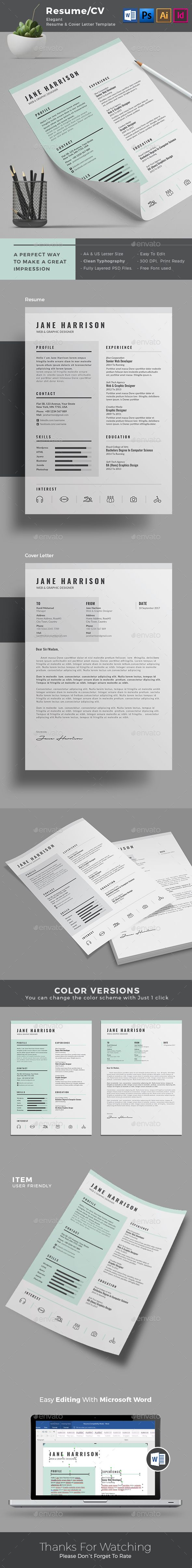 Minimal Resume Template Design | A4 & US Letter Size | Indesign + ...