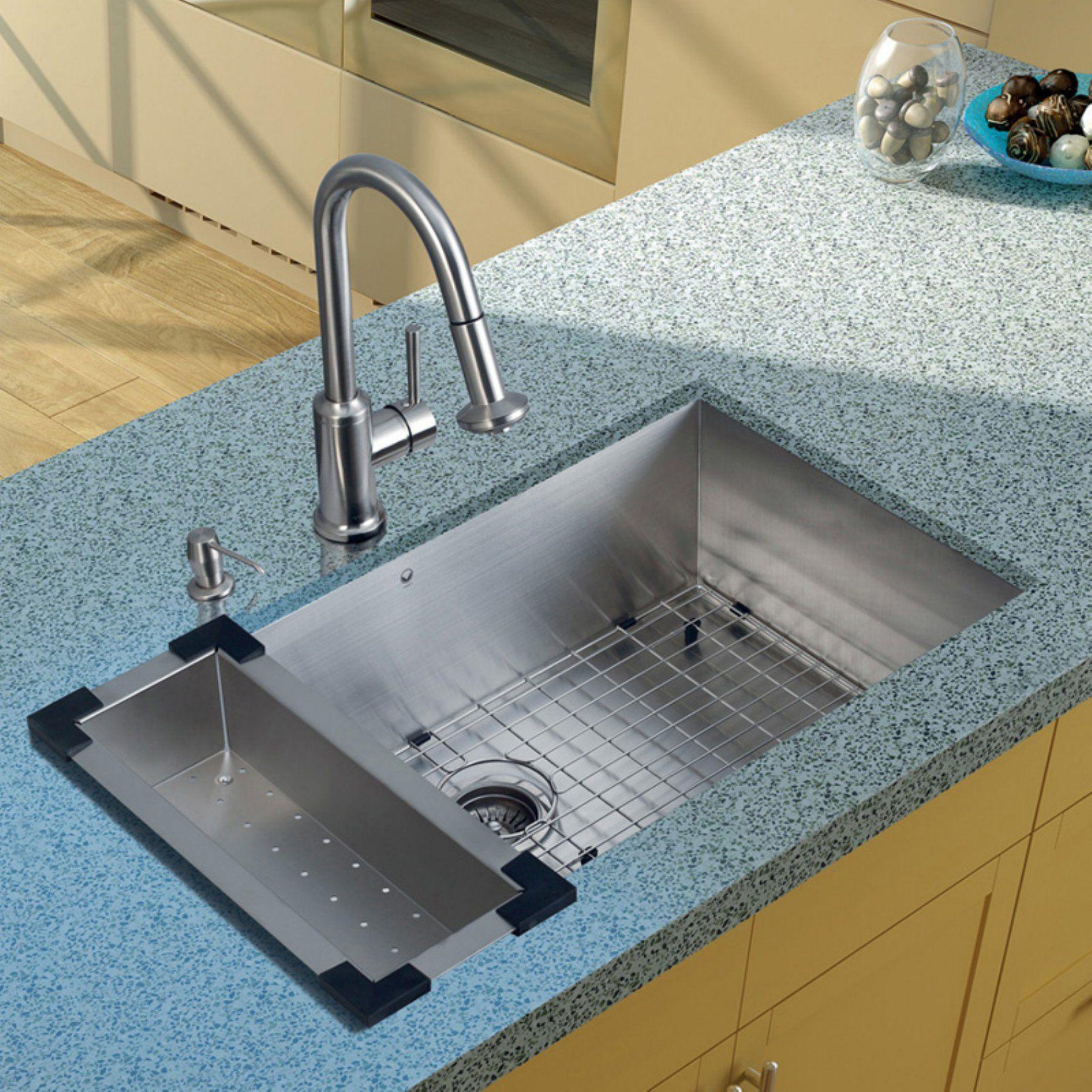 VIGO VG15070 Single Basin Undermount Kitchen Sink and Faucet Set - VG15070