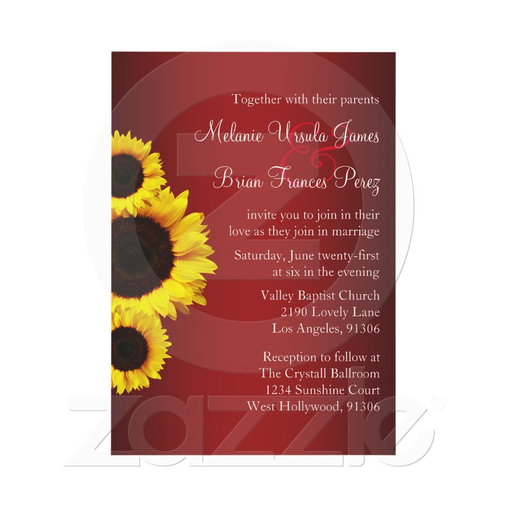 Red and Yellow Sunflower Wedding Invitation | Sunflower wedding ...