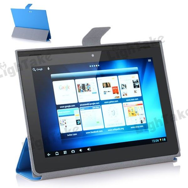 Foldable Leather Case for 9.4 Inch PiPo M8 Tablet PC - Blue