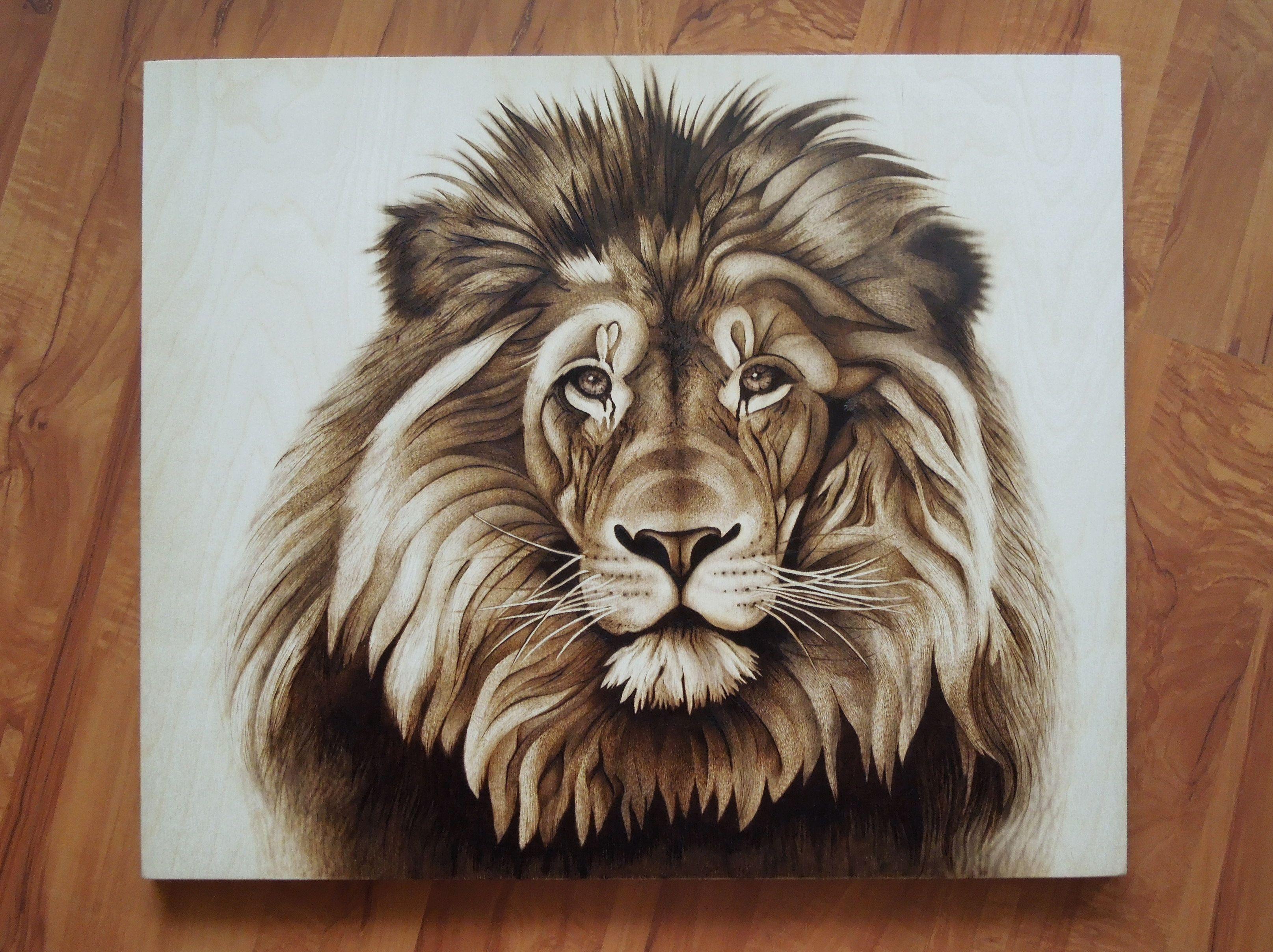 Картинка для выжигания по дереву лев