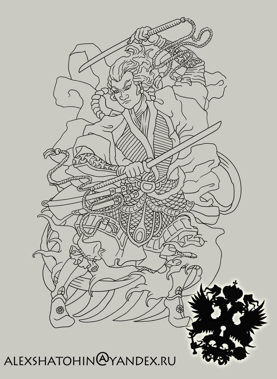 Japanese Samurai Tattoo Outline
