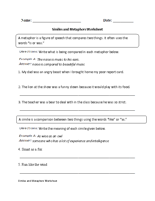 Similes and Metaphors Worksheet – Metaphor and Simile Worksheet
