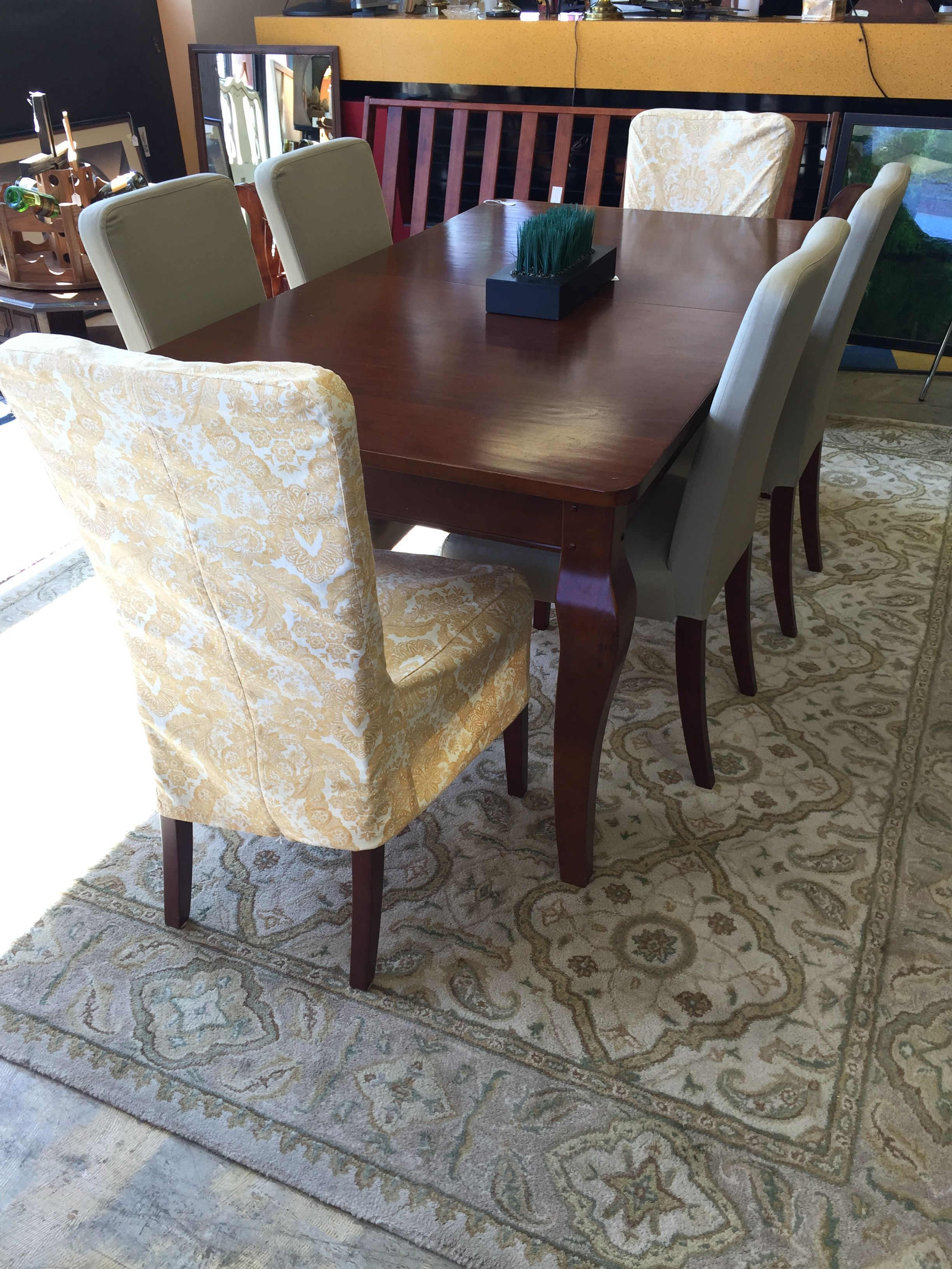 Pottery Barn Table With Six Chairs And Six Yellow Designed Chair