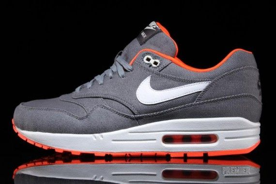 "super popular 91019 9a82f Nike Air Max 1 Premium ""Denim Twill"" – Cool Grey – Total Orange   Follow My  SNEAKERS Board!"