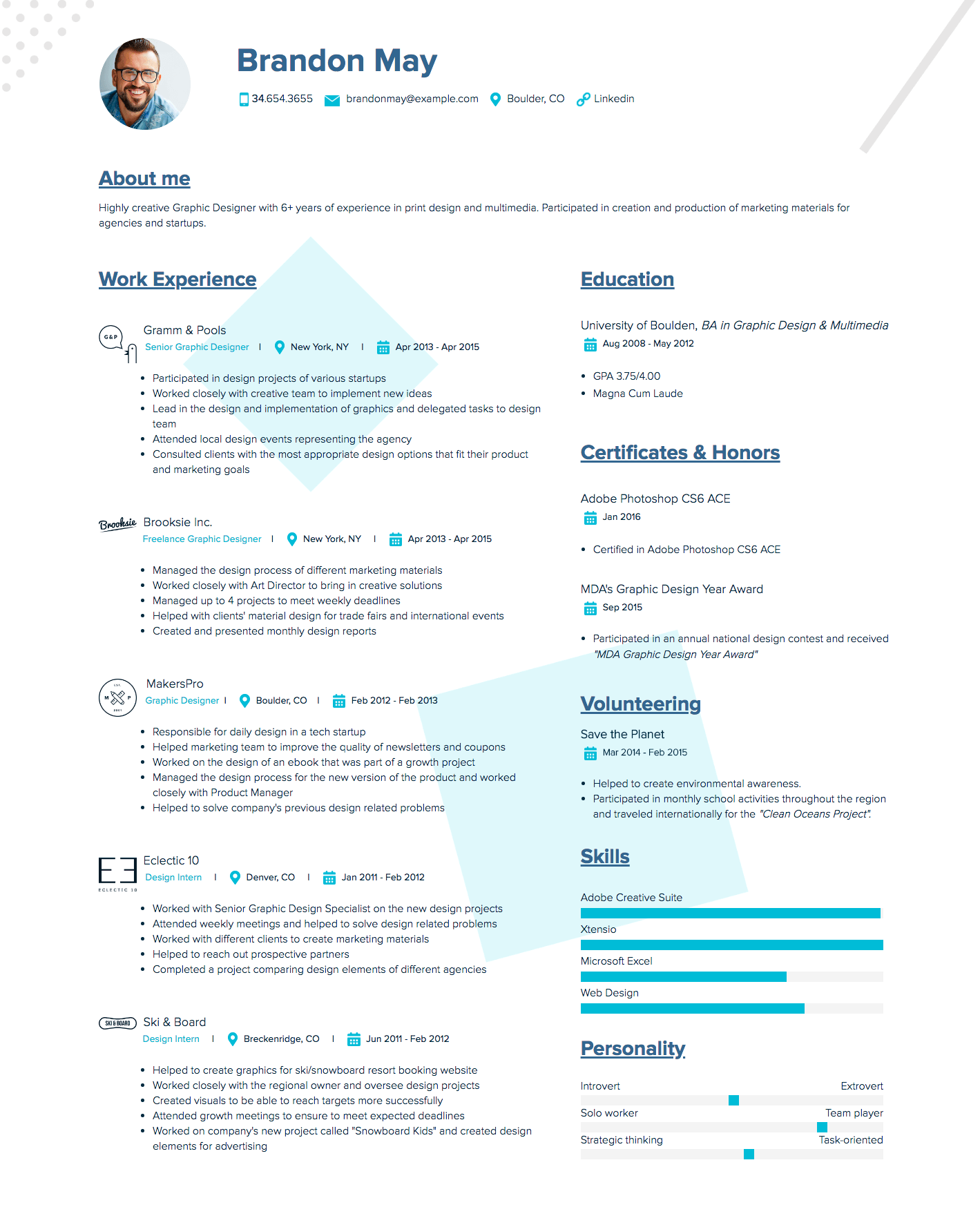 Free Resume Template and Examples Graphic design resume
