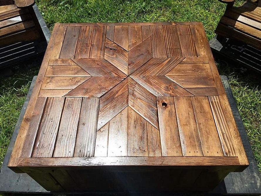 Patio furniture set made with wooden pallets pallet for What can you make with recycled pallets