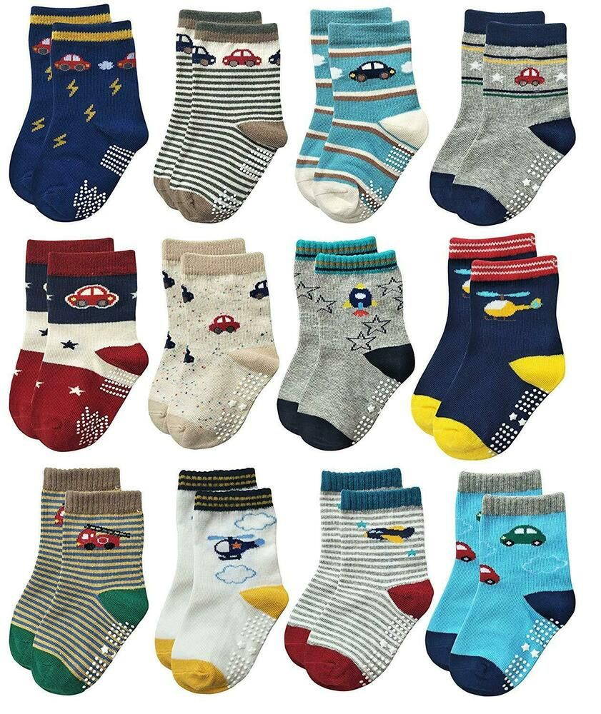 Baby Boys Anti-skid Socks 12 Pairs Toddler Boy Non Skid Socks Cute Cotton with Grips