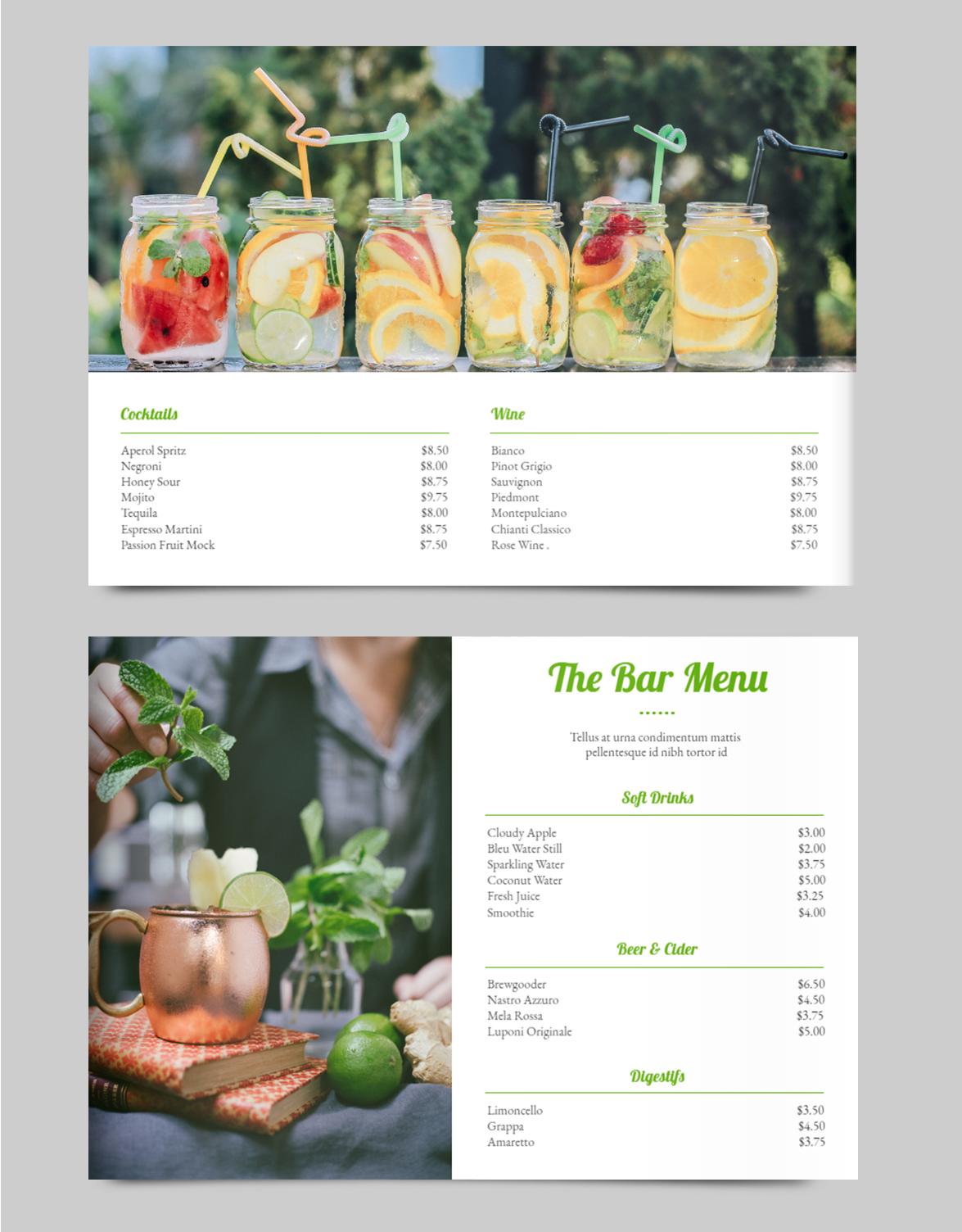 Bar Drink Menu Template Drink Menu Restaurant Menu Design Menu Layout
