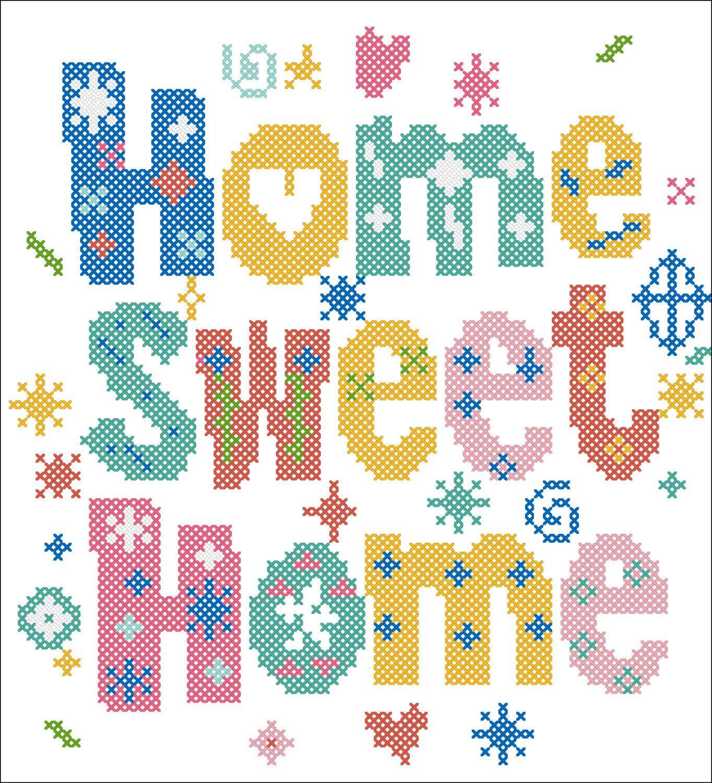 Pdf Fun Home Sweet Home Cross Stitch Pdf Pattern Pdf Pattern Instant Download Cross Stitch Charts Cross Stitch Rose Free Cross Stitch Charts