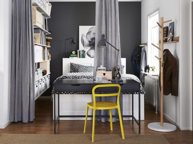 Rideau gris bureau gris mur gris chambre bedroom pinterest
