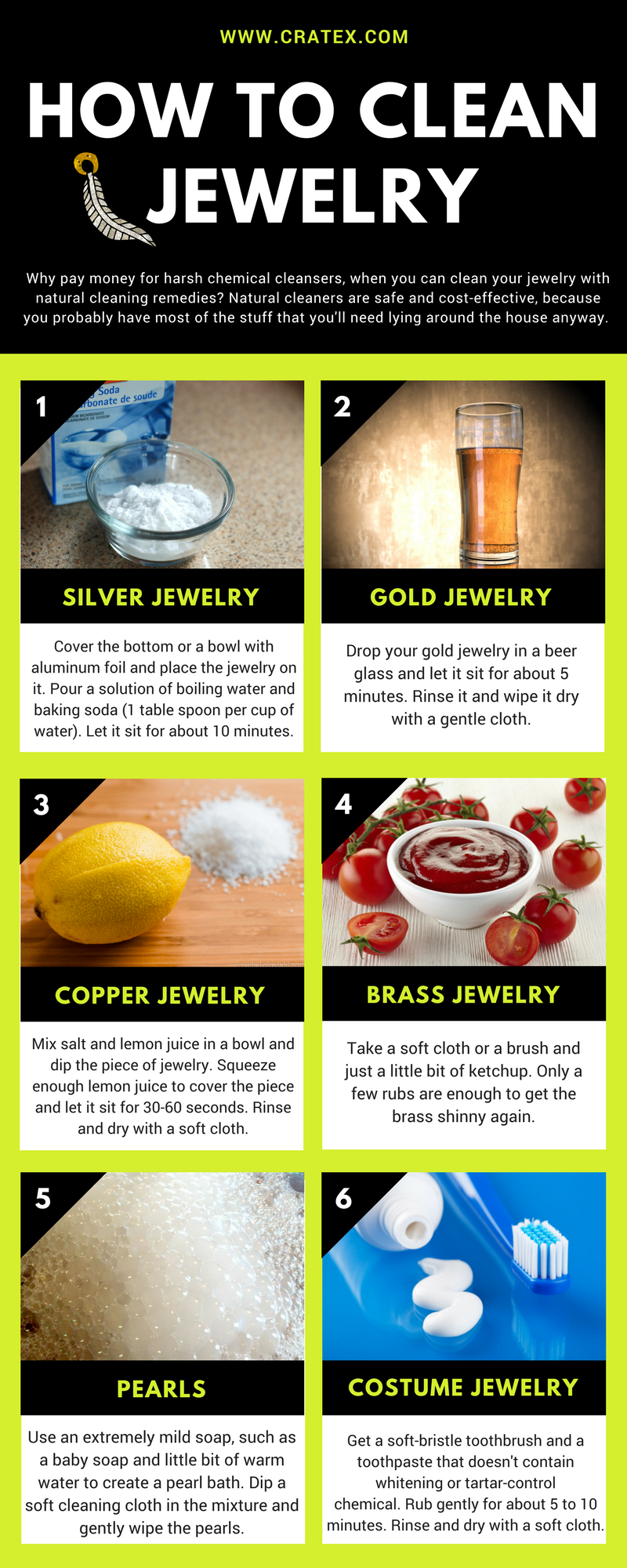 How to clean every type of jewelry silver, gold, copper