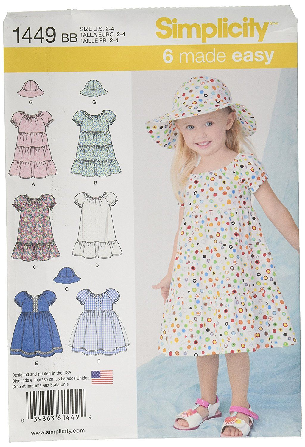 Amazon.com: Simplicity 6 Made Easy Pattern 1449 Toddler\'s Dresses ...