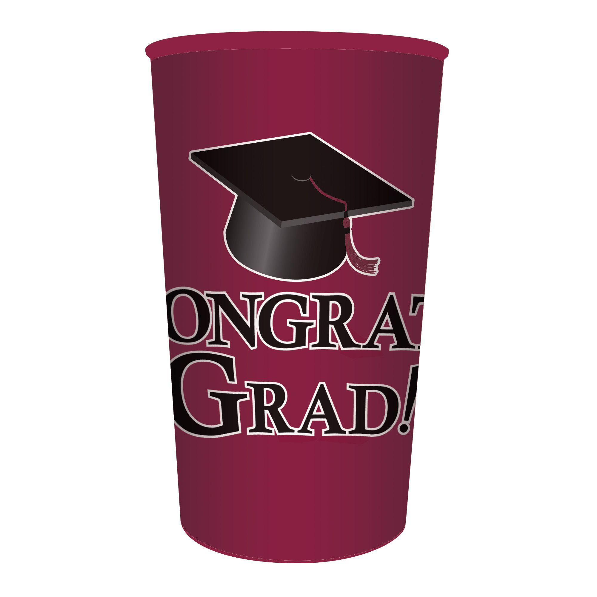 Decorating Plastic Tumblers Burgundy Graduation 22 Oz Printed Plastic Cups Case Of 20
