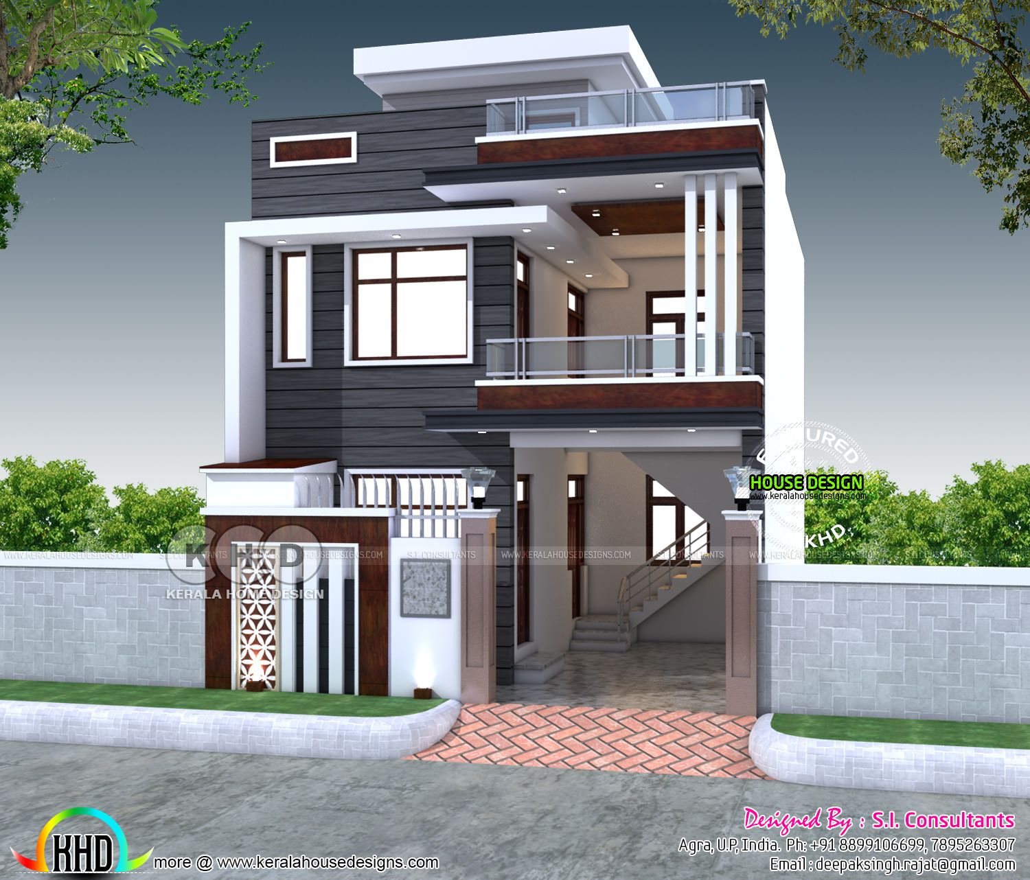 2200 Sq Ft 4 Bedroom India House Plan Modern Style 3 Storey Design Outer 2
