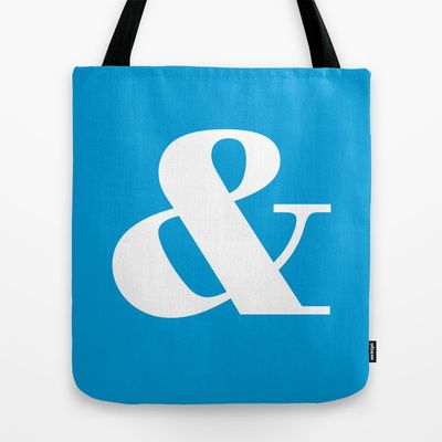 Vibrant Cyan (bright blue) Ampersand Tote Bag by OddMatter - $22.00