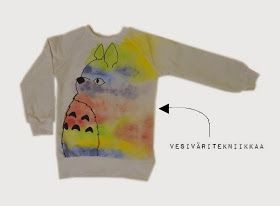 In Finn: Totoro. Colour wash a tshirt over line drawing