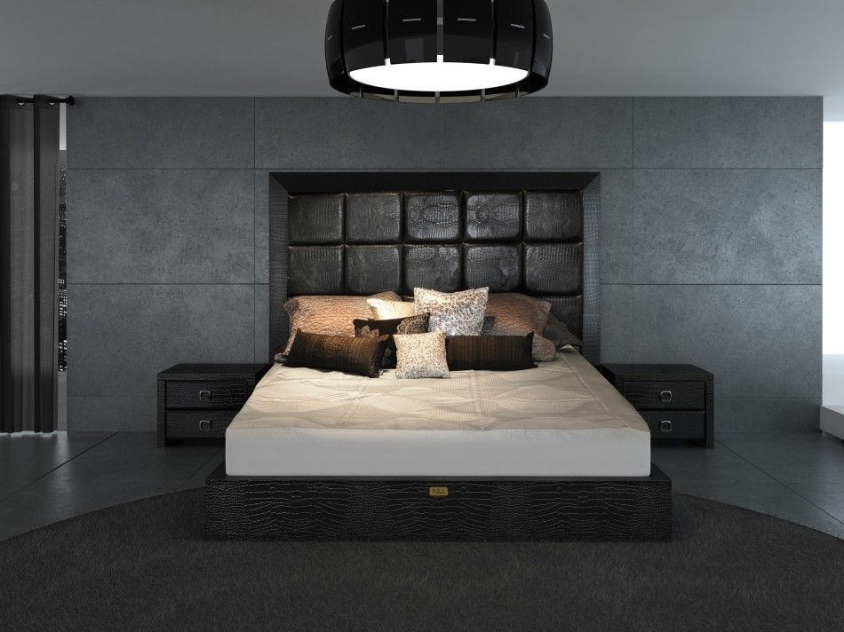 Black Contemporary Bedroom Set a&x glam modern black crocodile bed | bedroom modern, bed frames