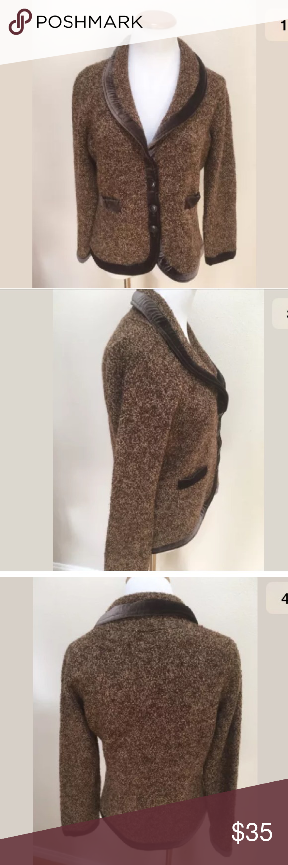 HWA Anthropologie Brown Sweater Jacket Large HWA Anthropologie ...
