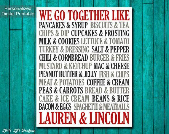 We Go Together Like Custom Wedding Gift by LittleLifeDesigns We