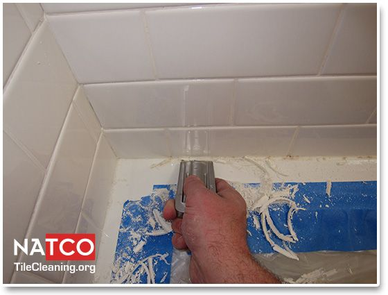 Removing Moldy Caulk In A Ceramic Tile Shower Cleaning Moldy