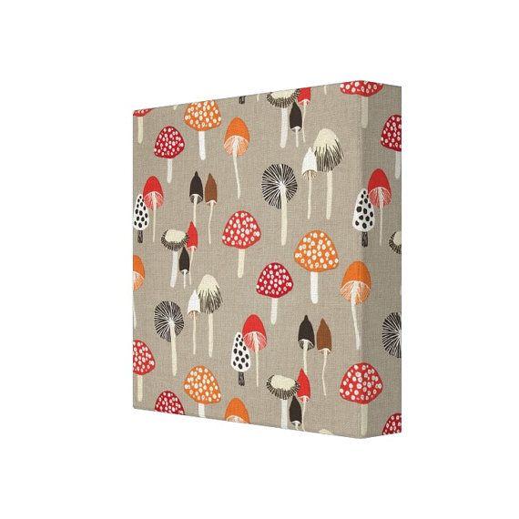 12x12 Pewter Mushrooms Fabric Wall Art - Grey Red Orange Sienna ...