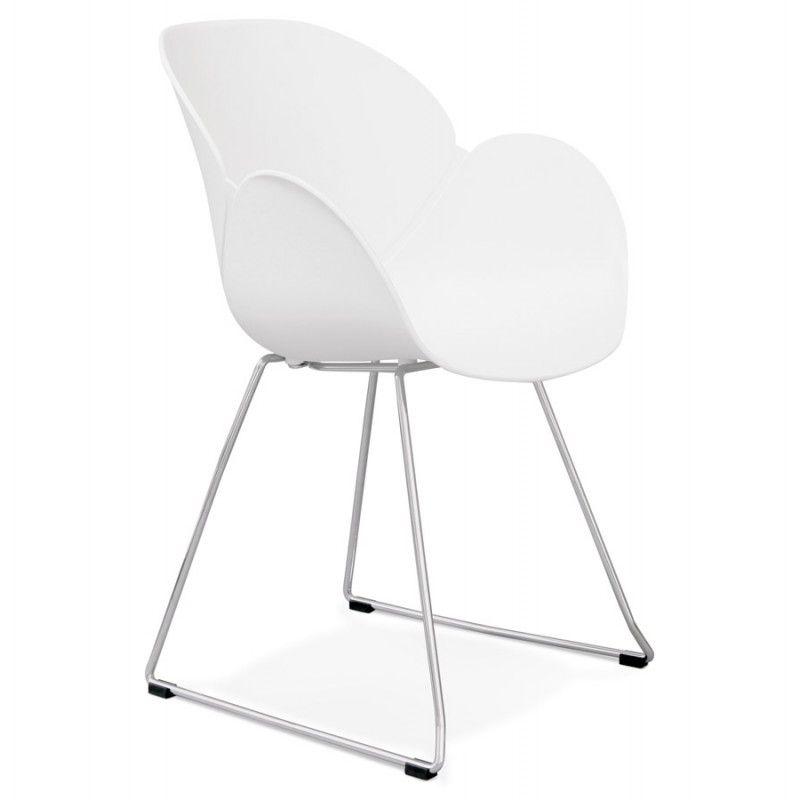Chaise design pied effilé adele en polypropylène blanc à placer sans modération dans un