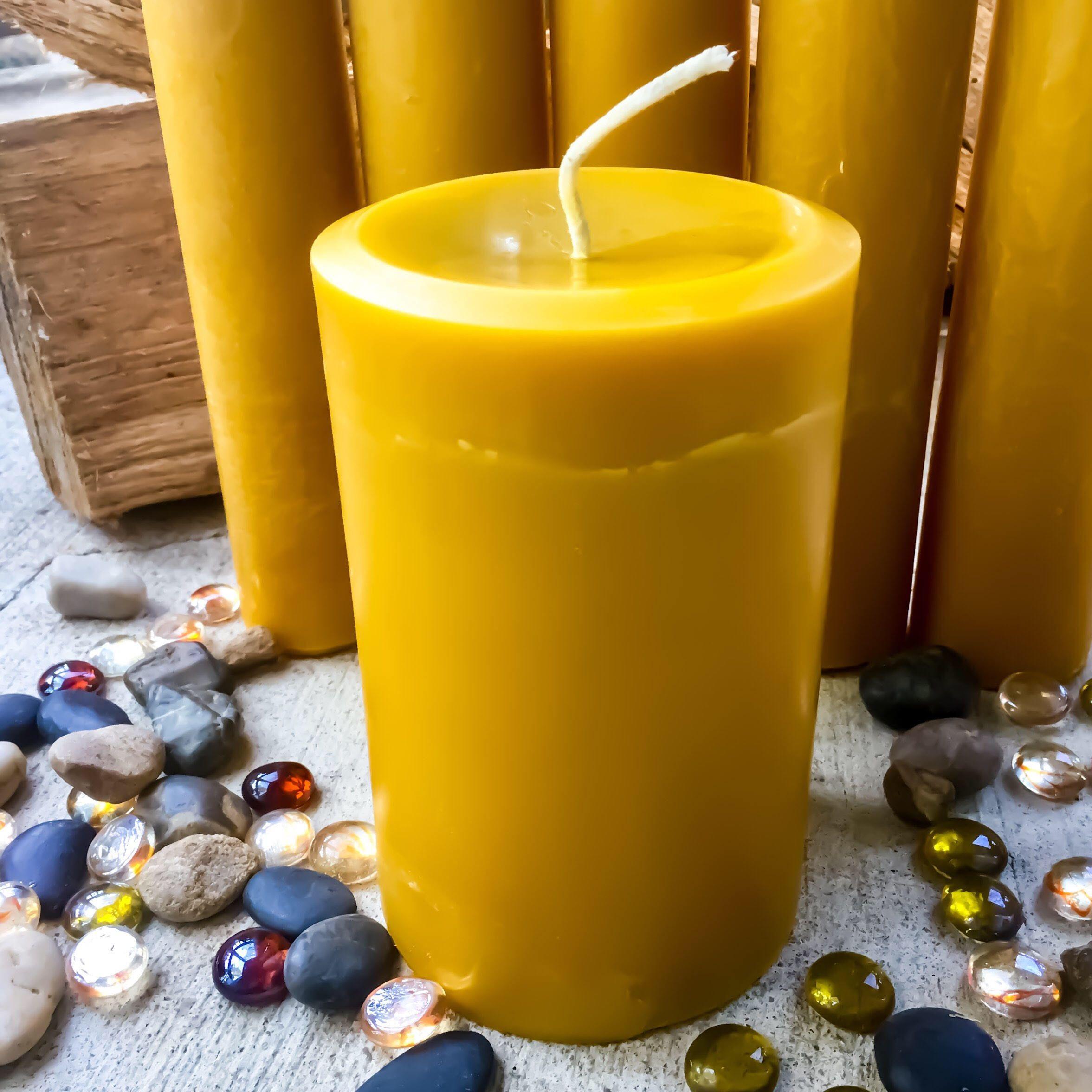 100/% beeswax pillars