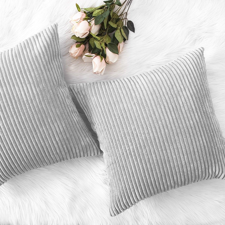 Throw Pillows Striped Velvet Cushion Cover Light Grey Multi