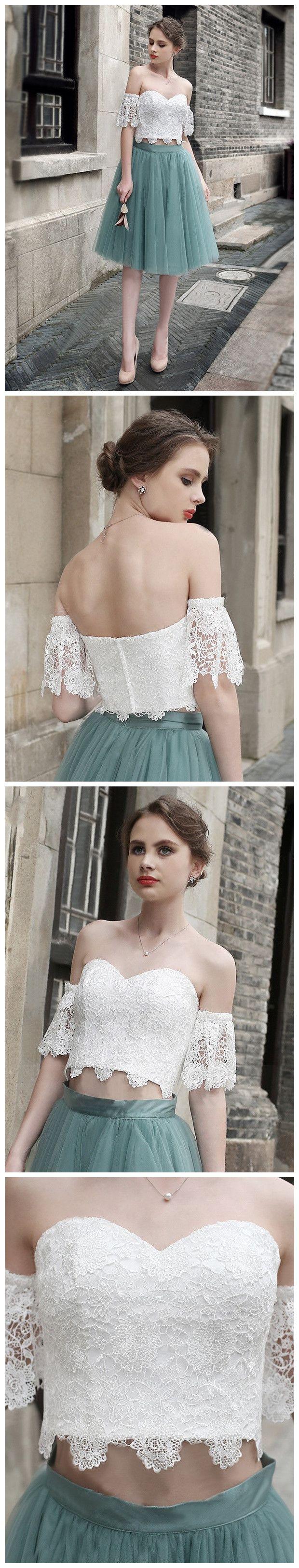 Aline offtheshoulder knee length tulle short prom dress
