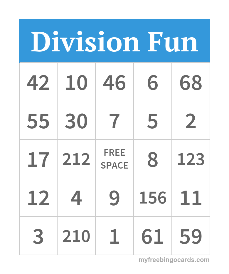Division Fun Bingo Division Free Printable Bingo Cards Bingo