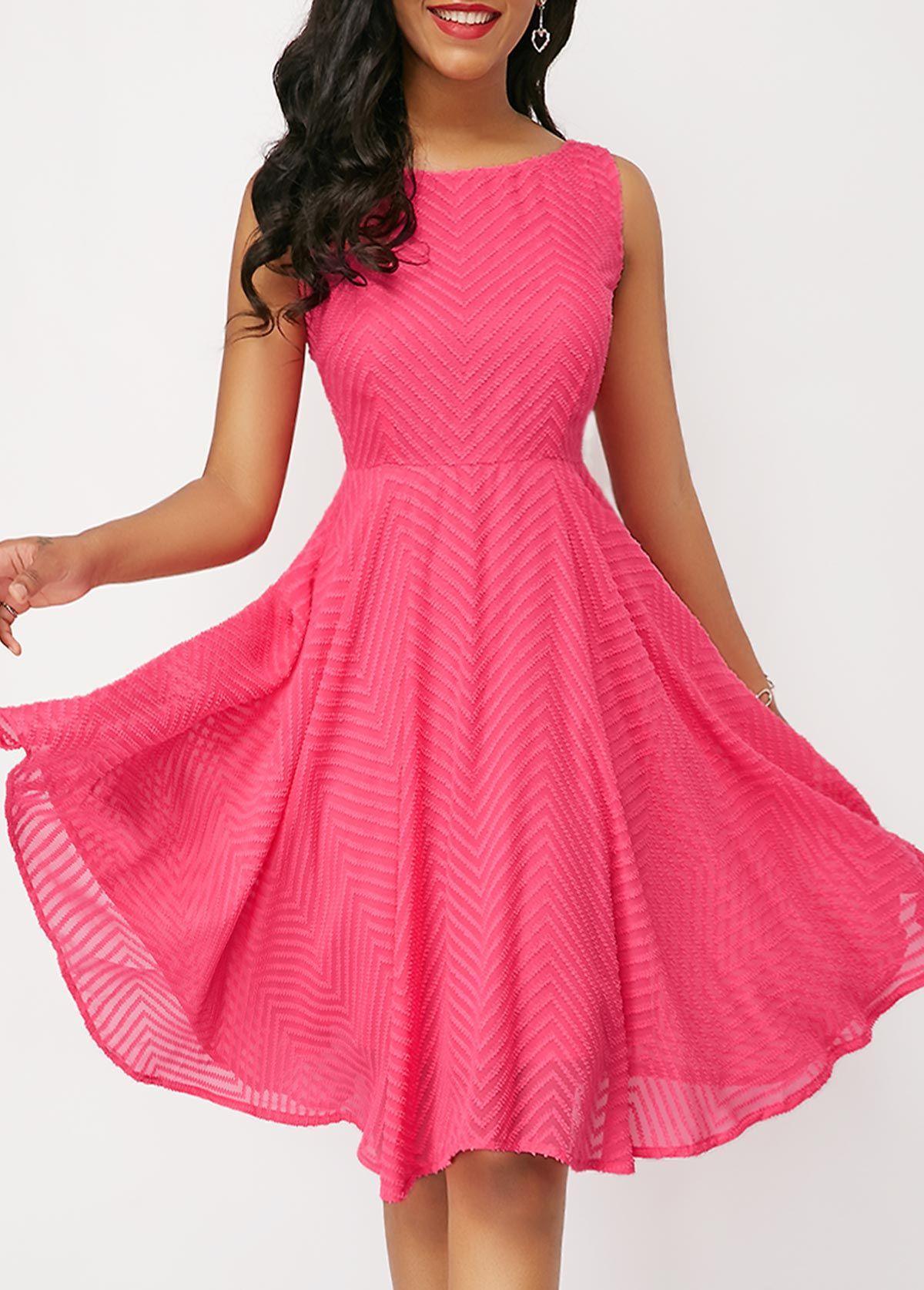 Chevron pattern cutout back pink dress usd