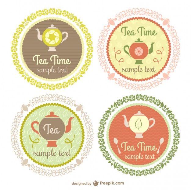 Etiquetas de la hora del té de estilo vintage. Vector gratis con atribución.