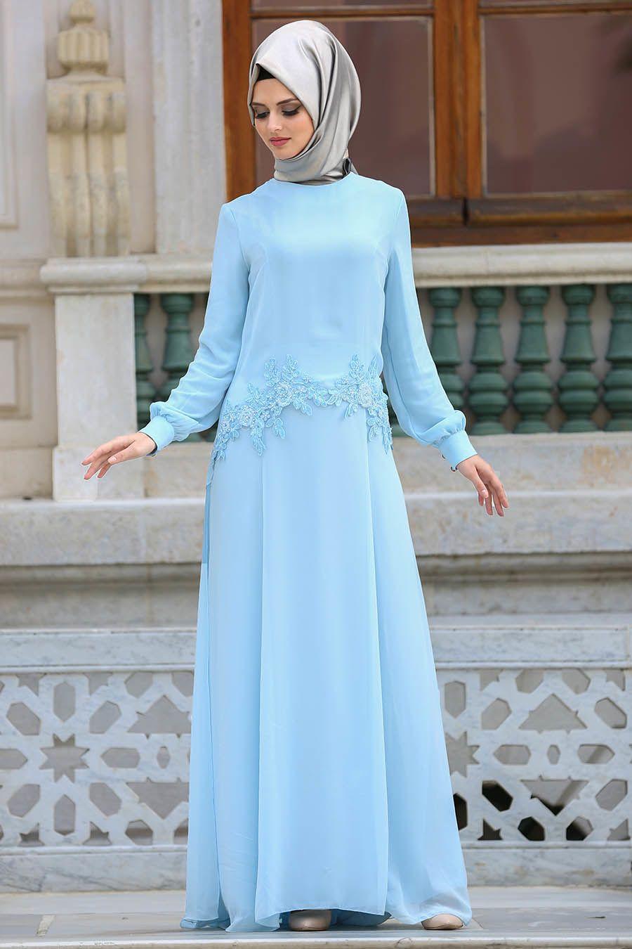 2632aec324d57 Neva Style - Çiçek Dantelli Bebek Mavisi Tesettür Abiye Elbise 25618BM  #tesetturisland #tesettur #