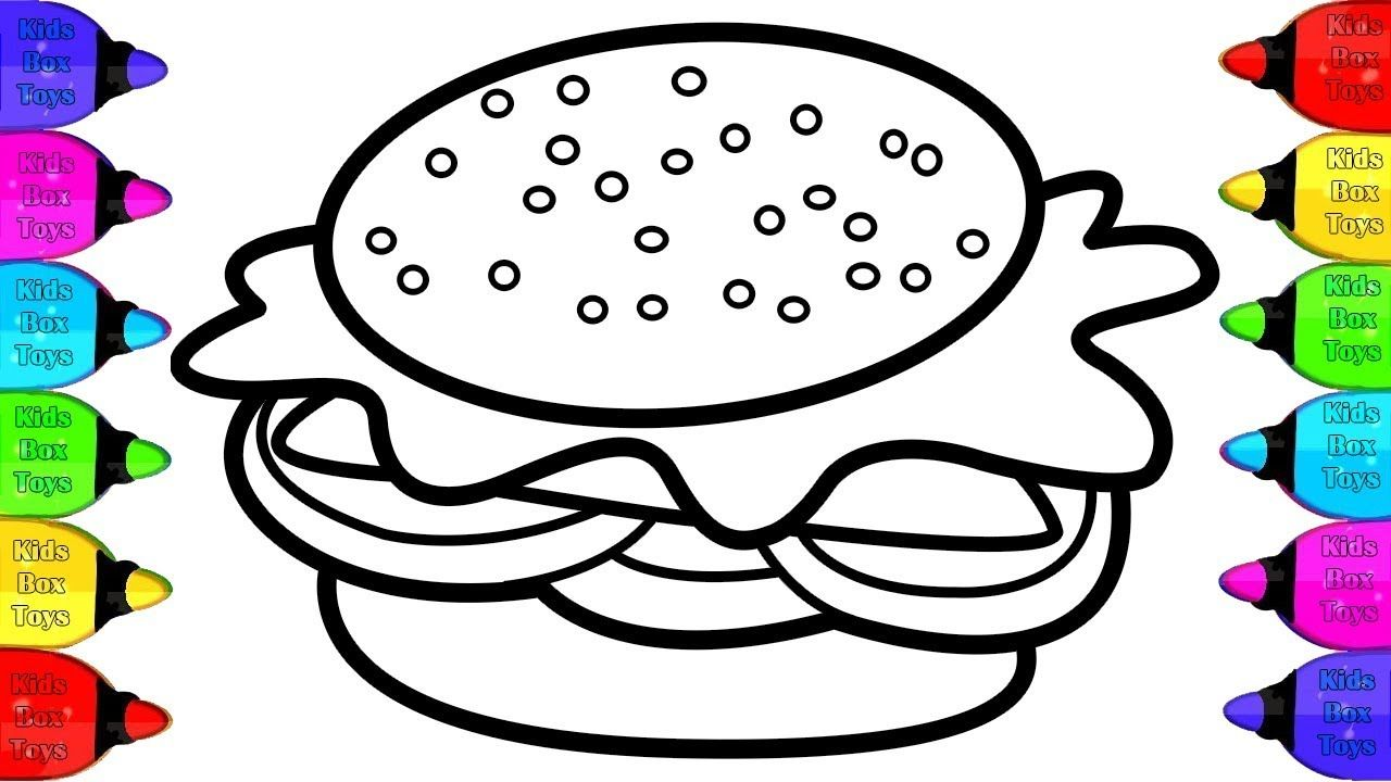 Draw Color Paint Burger Pizza French Fries Coloring Page Art