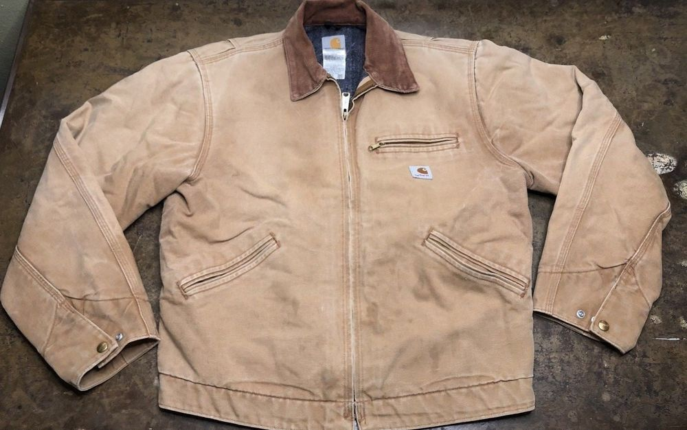 b40825e2dbe4f Carhartt Jacket Vtg Blanket Lined Usa Made Tan Work Wear Coat Regular 42 # Carhartt #WorkWear