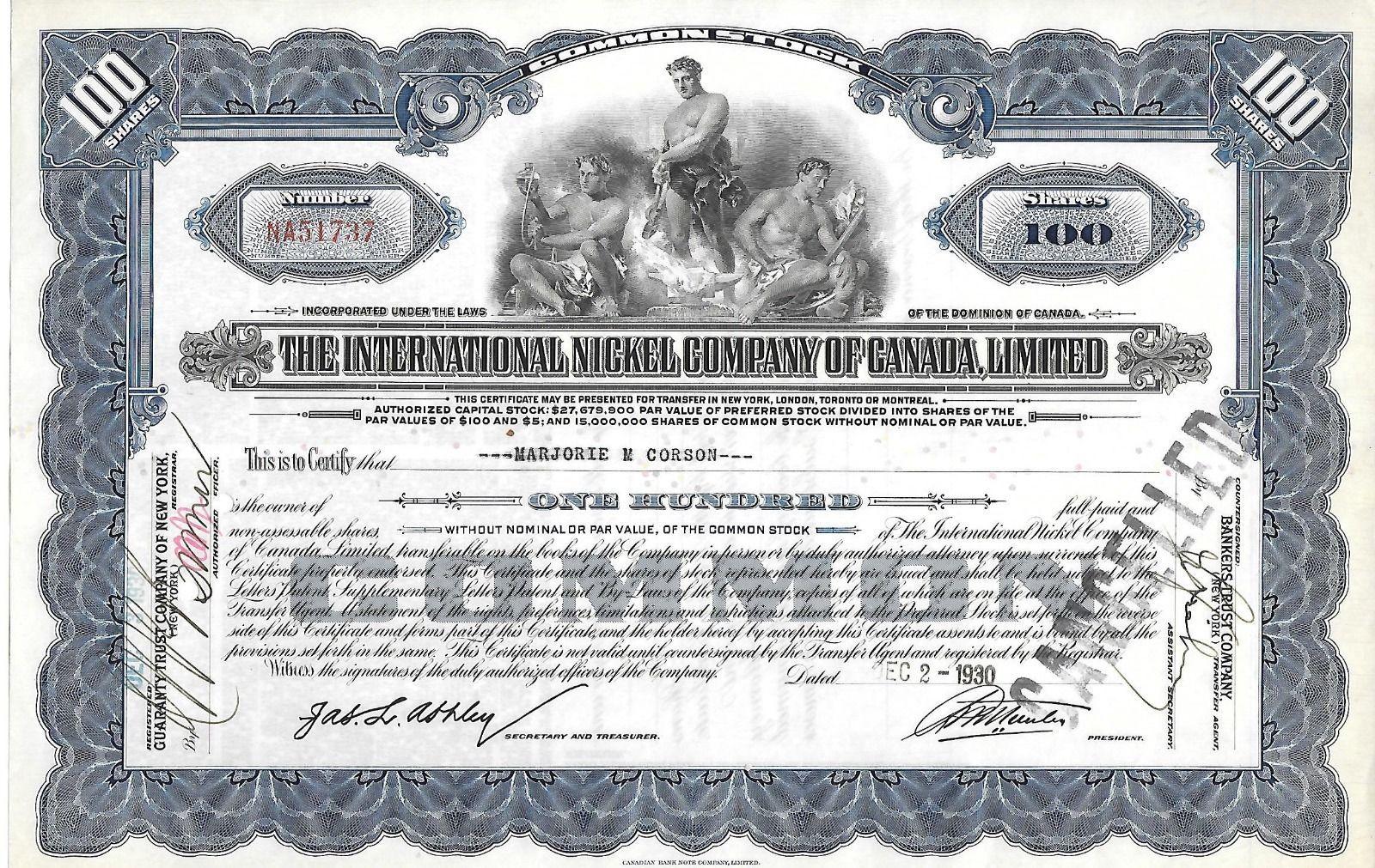 International Nickel Of Canada Stock Certificate 1930