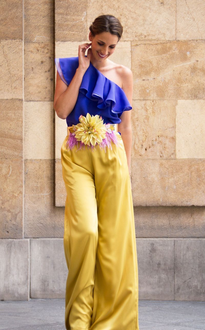 1aad8ffc6c comprar online pantalon mostaza palazzo invitada boda bautizo evento fiesta  de apparentia