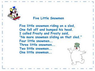 Image result for 5 little snowmen riding on a sled poem
