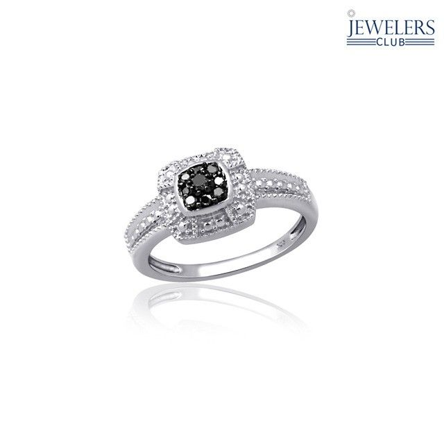 0.10 Carat Total Weight Genuine Black Diamond Ring in Sterling Silver